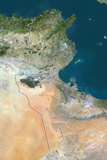 Tunisia  True Colour Satellite Image with Border