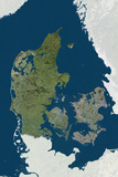Denmark  True Colour Satellite Image with Border and Mask