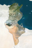 Tunisia  True Colour Satellite Image with Border and Mask