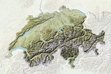 Switzerland  Relief Map with Border and Mask