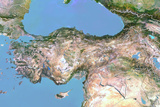 Turkey  Satellite Image with Bump Effect  with Border