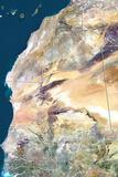 Mauritania  True Colour Satellite Image with Border