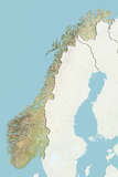Norway  Relief Map with Border and Mask