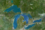 Satellite Image of Great Lakes  North America