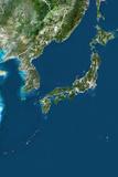 Japan  True Colour Satellite Image with Border