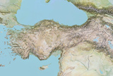 Turkey  Relief Map with Border