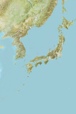 Japan  Relief Map with Border