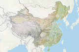 China  Relief Map with Border and Mask