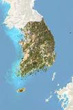 South Korea  Satellite Image with Bump Effect  with Border and Mask