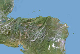 Honduras  Satellite Image with Bump Effect  with Border