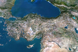 Turkey  True Colour Satellite Image with Border