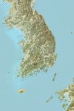 South Korea  Relief Map with Border