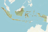Indonesia  Relief Map with Border and Mask