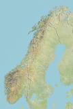 Norway  Relief Map with Border