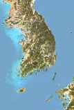 South Korea  Satellite Image with Bump Effect  with Border