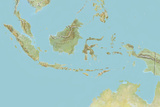 Indonesia  Relief Map with Border