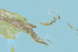 Papua New Guinea  Relief Map with Border