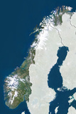 Norway  True Colour Satellite Image with Border and Mask