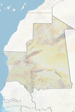 Mauritania  Relief Map with Border and Mask