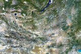 Mongolia  True Colour Satellite Image with Border