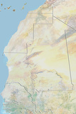 Mauritania  Relief Map with Border