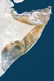 Somalia  True Colour Satellite Image with Border and Mask