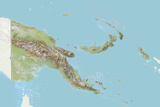 Papua New Guinea  Relief Map with Border and Mask