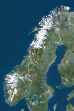 Norway  True Colour Satellite Image with Border