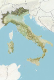 Italy  Relief Map with Border and Mask