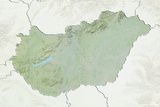 Hungary  Relief Map with Border and Mask