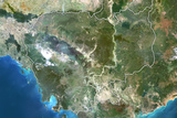 Cambodia  True Colour Satellite Image with Border