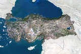 Turkey  True Colour Satellite Image with Border and Mask