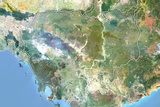 Cambodia  Satellite Image with Bump Effect  with Border