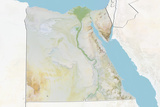 Egypt  Relief Map with Border and Mask