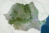Romania  True Colour Satellite Image with Border and Mask