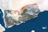 Yemen  True Colour Satellite Image with Border and Mask
