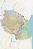 Tanzania  Relief Map with Border and Mask