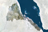 Eritrea  True Colour Satellite Image with Border and Mask