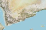 Yemen  Relief Map with Border