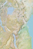 Tanzania  Relief Map with Border