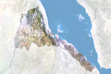Eritrea  Satellite Image with Bump Effect  with Border and Mask