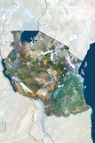 Tanzania  True Colour Satellite Image with Border and Mask