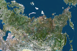 Russia  True Colour Satellite Image with Border