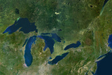 Satellite Image of Great Lakes  USA and Canada