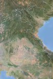 Laos  Satellite Image with Bump Effect  with Border