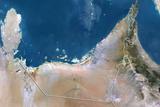 United Arab Emirates  True Colour Satellite Image with Border