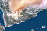 Yemen  True Colour Satellite Image with Border