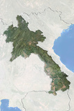 Laos  Satellite Image with Bump Effect  with Border and Mask