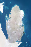 Qatar  True Colour Satellite Image with Border and Mask