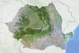 Romania  Satellite Image with Bump Effect  with Border and Mask